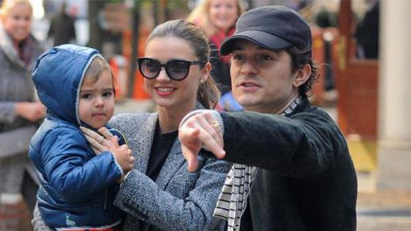 Orlando Bloom appears with wife Miranda Kerr and their son Flynn, 2, in New York City on Oct. 26, 2013. The actors rep confirmed to OTRC.com a day earlier that the two had separated months ago. - Provided courtesy of Humberto Carreno / Startraksphoto.com