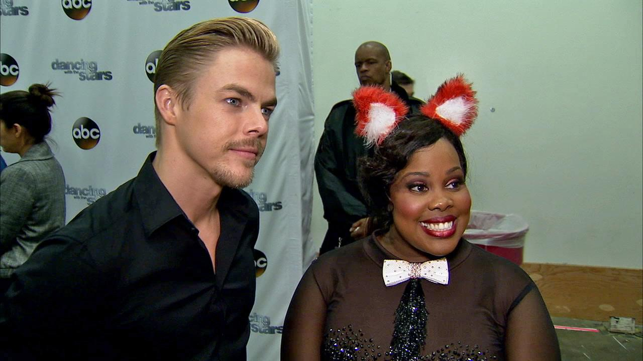 Amber Riley and Derek Hough talk to OTRC.com after week 7 on Dancing With The Stars on Oct. 28, 2013.