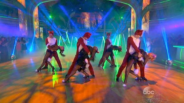 Corbin Bleu, Brant Daugherty, Jack Osbourne and Amber Riley dance in a group to The Fox (What Does the Fox Say?) on Dancing With The Stars on Oct. 28, 2013. - Provided courtesy of ABC