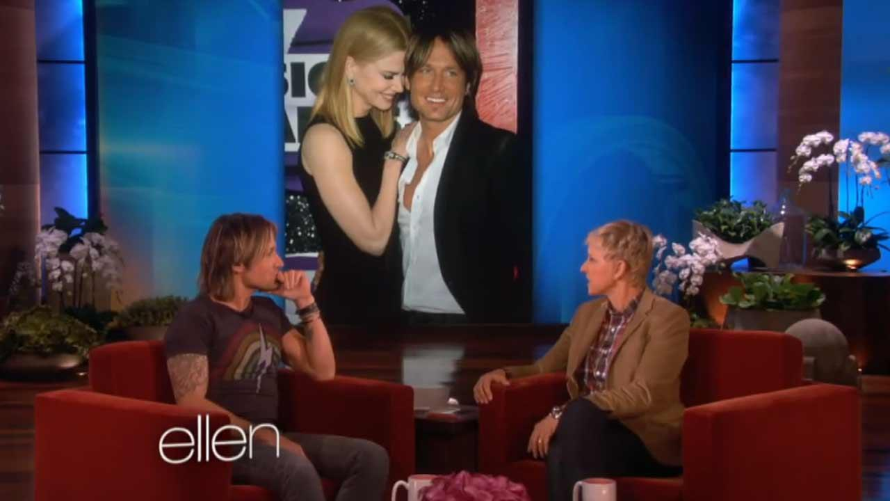 Keith Urban appears on The Ellen DeGeneres Show on Oct. 28, 2013.