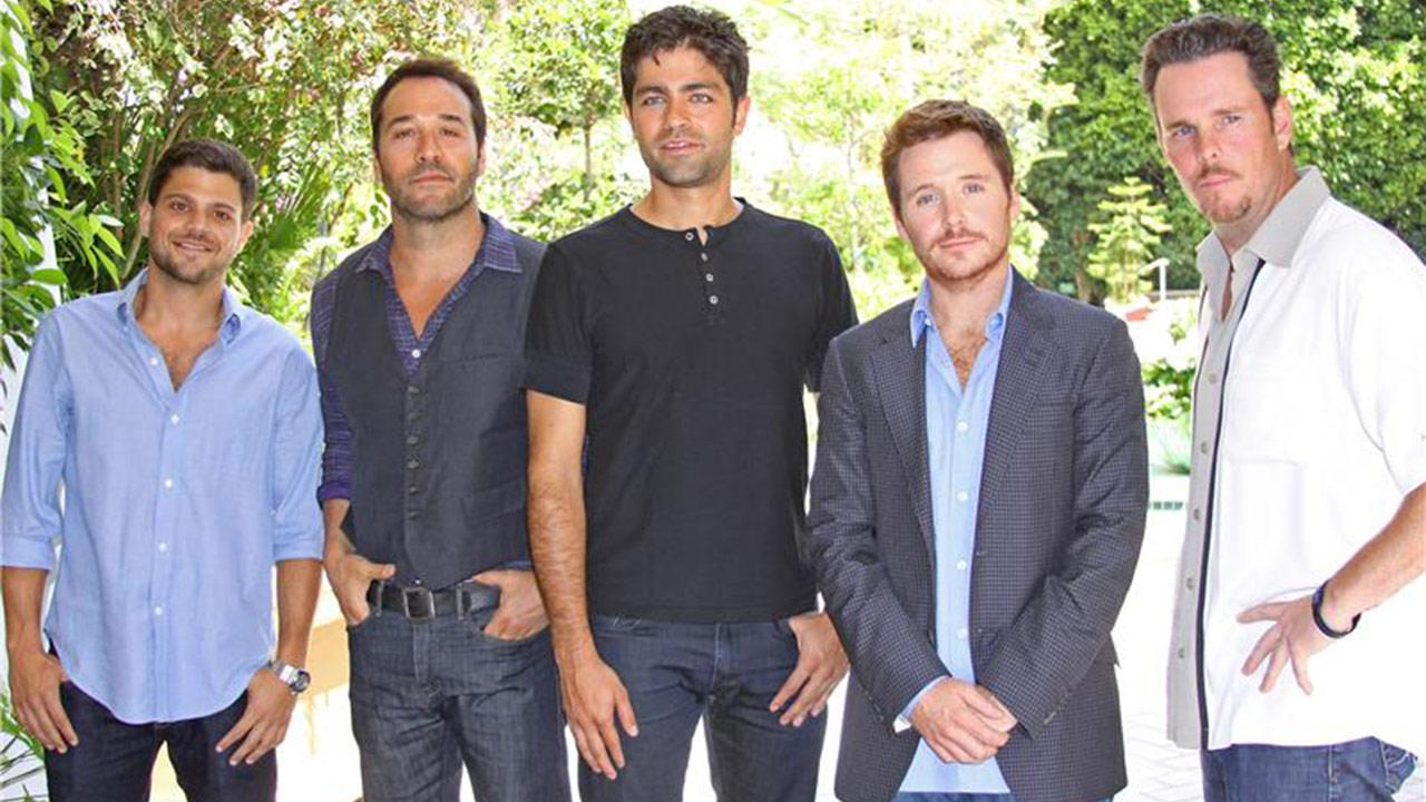 Jerry Ferrara, Adrian Grenier, Jeremy Piven, Kevin Connolly and Kevin Dillon appear at a press conference for the eighth and final season of the HBO series Entourage in Los Angeles on July 28, 2011.