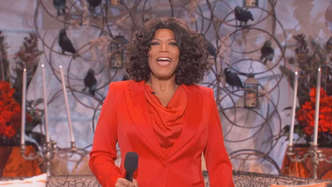 Queen Latifah appears as Oprah Winfrey, on her talk series The Queen Latifah Show on Oct. 30, 2013.Sony Pictures Television