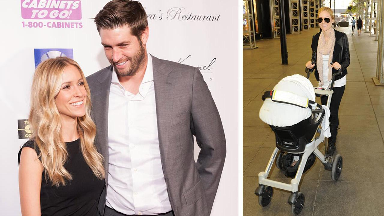 Kristin Cavallari and Jay Cutler appear at a Dancing With The Stars charity event to benefit the Bridges Academy in St. Charles in St. Charles, Illinois on Aug. 24, 2013. / Kristin Cavallari appears with their son Camden in Chicago on Nov. 8, 2012.