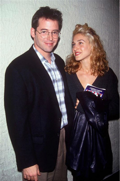 "<div class=""meta ""><span class=""caption-text ""> Sarah Jessica Parker and Matthew Broderick appear at the Friars Club Roast celebrating Whoopi Goldberg in Los Angeles on Sept. 20, 1993. The celebrity pair, who wed in May 1999, are also parents to twin daughters. (Frank Olsen / Startraksphoto.com)</span></div>"