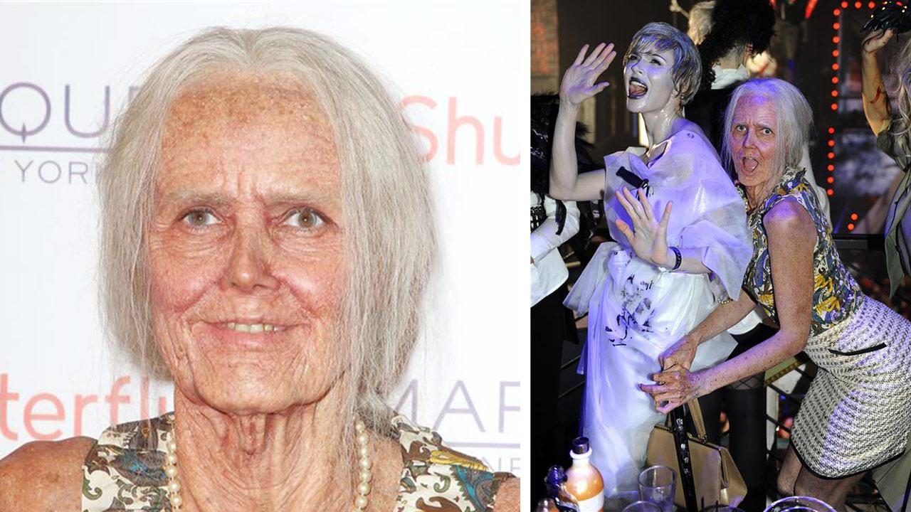 Heidi Klum appears in an elderly woman costume at her 14th annual Halloween party, held at the Marquee nightclub in New York and presented by SVEDKA Vodka, Shutterfly and Smartwater on Oct. 31, 2013.