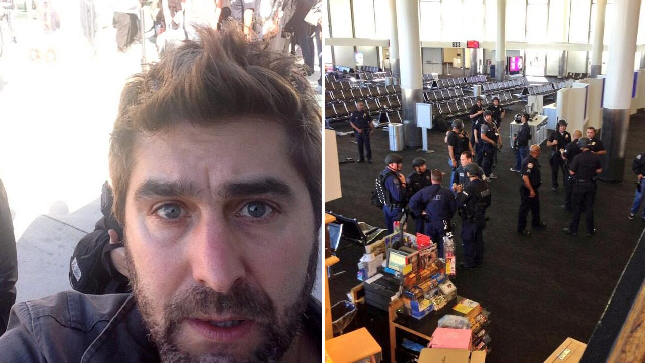 Tory Belleci of Mythbusters appears in a photo posted on his official Twitter account on Nov. 1, 2013. / Authorties appear at Los Angeles International Airport Terminal 3 in a photo posted by Grant Imahara on Twitter on Nov. 1, 2013.