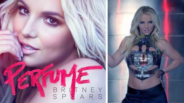Britney Spears appears on the official cover art for the song Perfume. Britney Spears appears in a still from the 2013 music video Work B----. - Provided courtesy of RCA Records