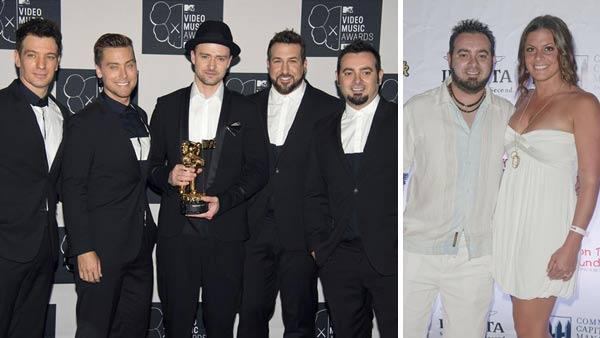 L-R: N Sync members JC Chasez, Lance Bass, Justin Timberlake, Joey Fatone and Chris Kirkpatrick appear at the 2013 MTV VMAs. Chris Kirkpatrick and Karly Skladany appear at the Hard Rock Hotel and Casino in Hollywood, Florida on Feb. 24, 2013. - Provided courtesy of Lionel Hahn / Paul Emmans / startraksphoto.com