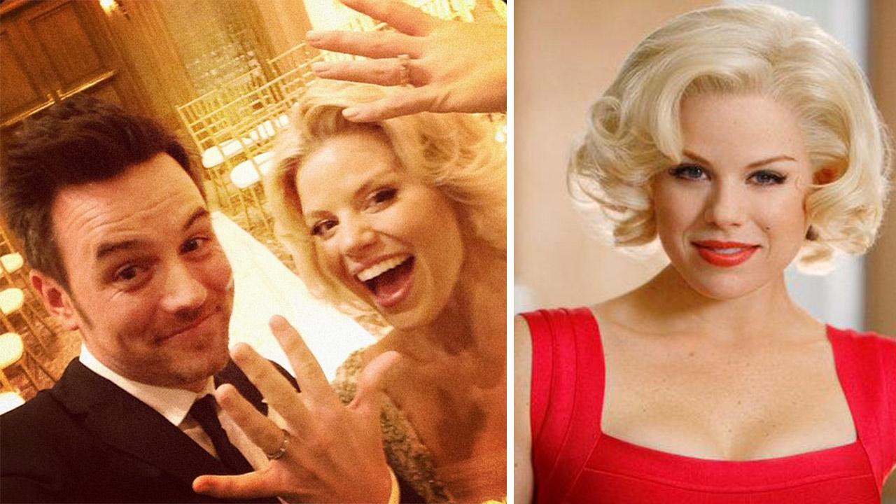 Megan Hilty and her new husband, Brian Gallagher, are seen in this photo he posted on his Instagram page after the two wed at the Venetian Chapel in Las Vegas on Nov. 2, 2013. / Megan Hilty appears in a scene from the NBC series Smash in 2012. <span class=meta>(instagram.com&#47;p&#47;gPP9YxzM5K&#47; instagram.com&#47;brianggallagher &#47; Will Hart &#47; NBC)</span>