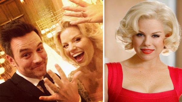Megan Hilty and her new husband, Brian Gallagher, are seen in this photo he posted on his Instagram page after the two wed at the Venetian Chapel in Las Vegas on Nov. 2, 2013. / Megan Hilty appears in a scene from the NBC series 'Smash' in 2012.
