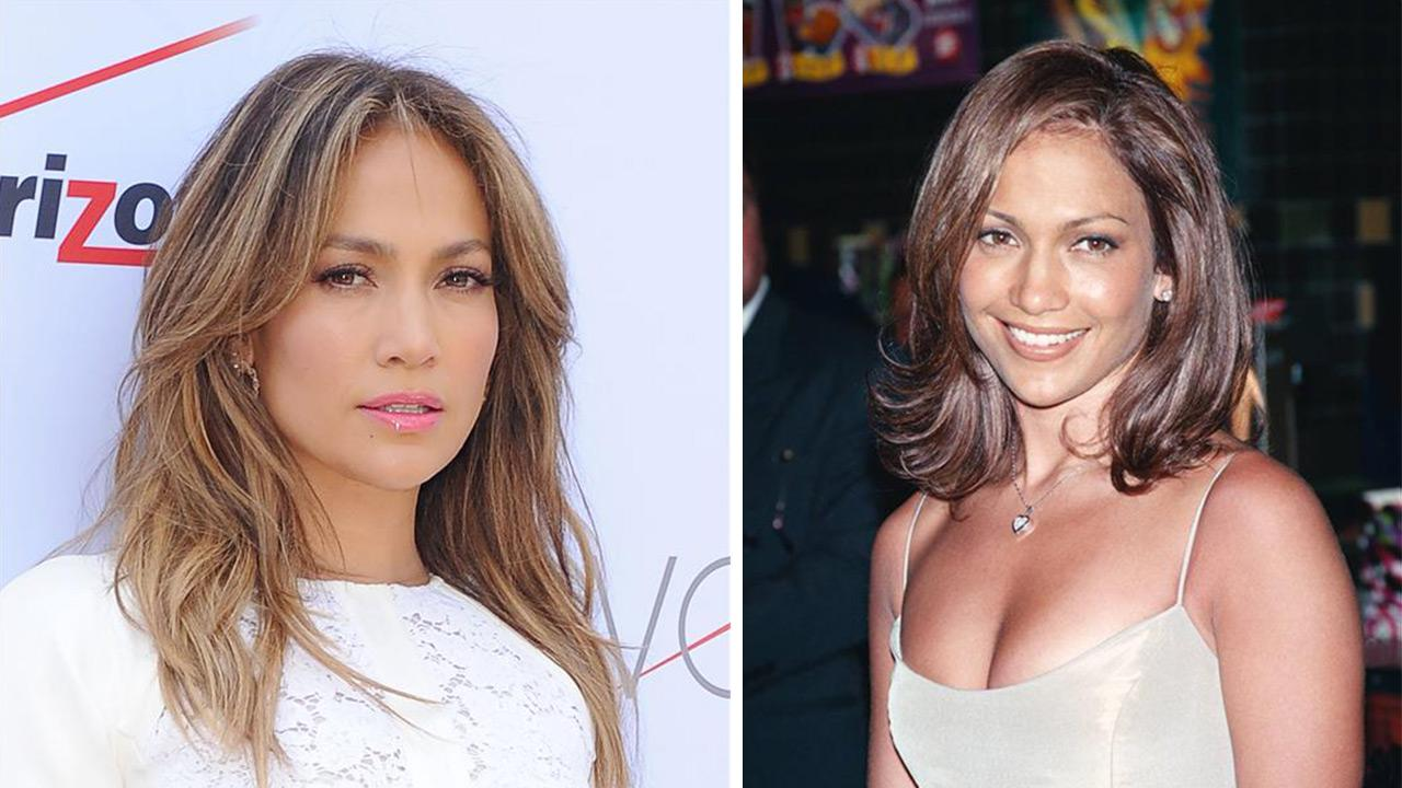 Jennifer Lopez opens the first Viva Mobil store in Brooklyn, New York on July 26, 2013. / Jennifer Lopez appears at the premiere of Out of Sight in New York on June 25, 1998.