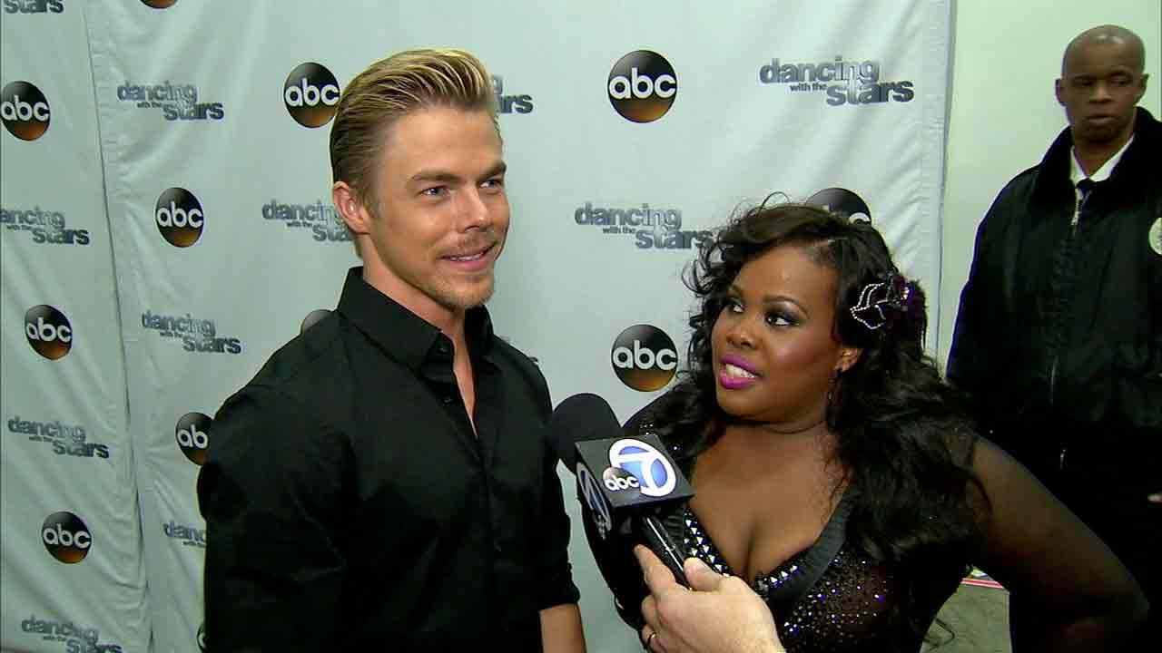 Amber Riley and Derek Hough talked to OTRC.com after week 8 on Dancing With The Stars on Nov. 4, 2013.