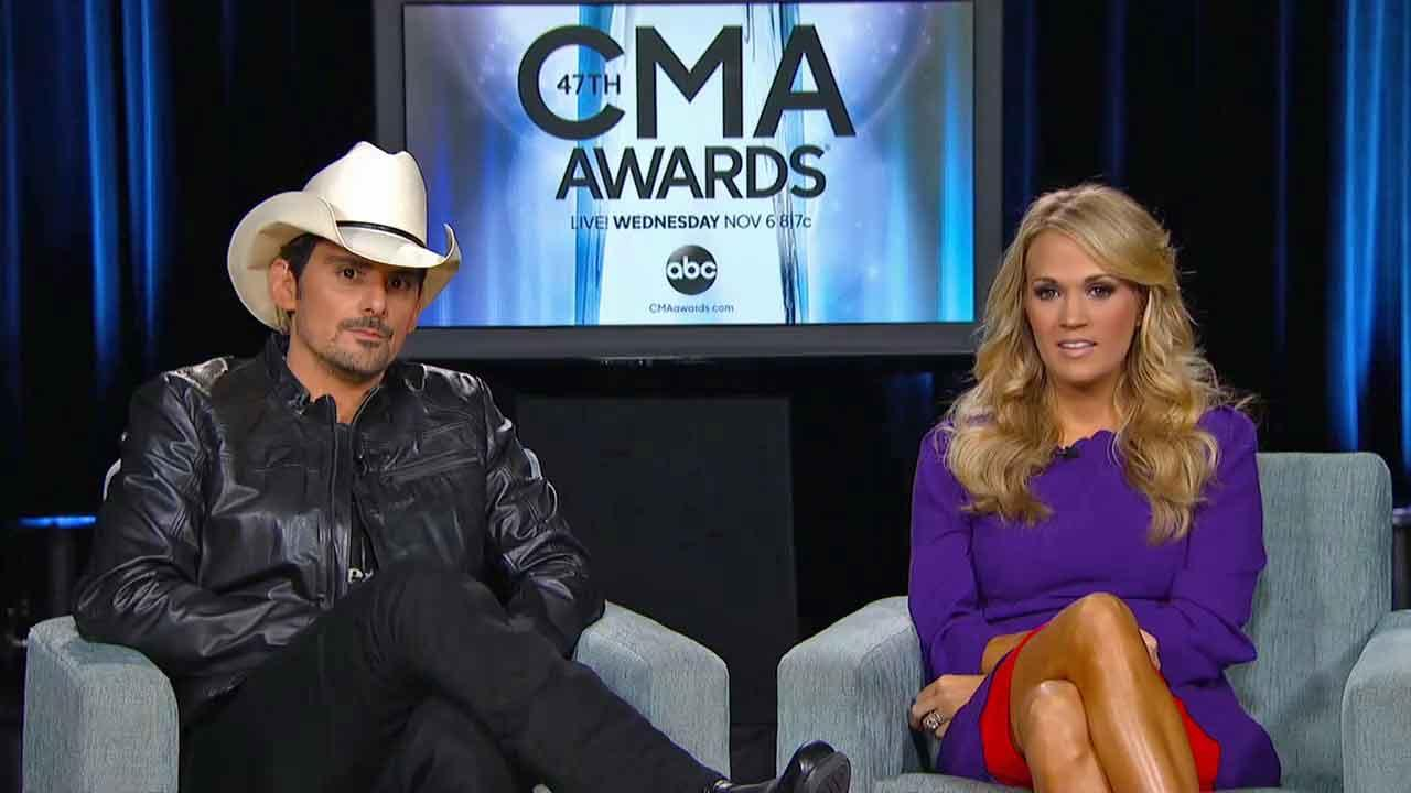 Brad Paisley and Carrie Underwood appear in an interview promoting the Country Music Awards on ABC on Nov. 4, 2013.