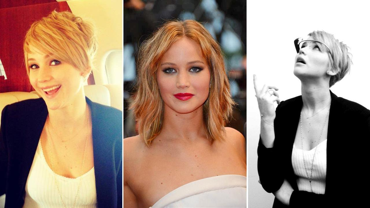 Right and Left: Jennifer Lawrence appears in a photos posted on her official Facebook page on Nov. 6, 2013. / Center: Jennifer Lawrence appears at the Cannes Film Festival in Cannes, France, on May 18, 2013.