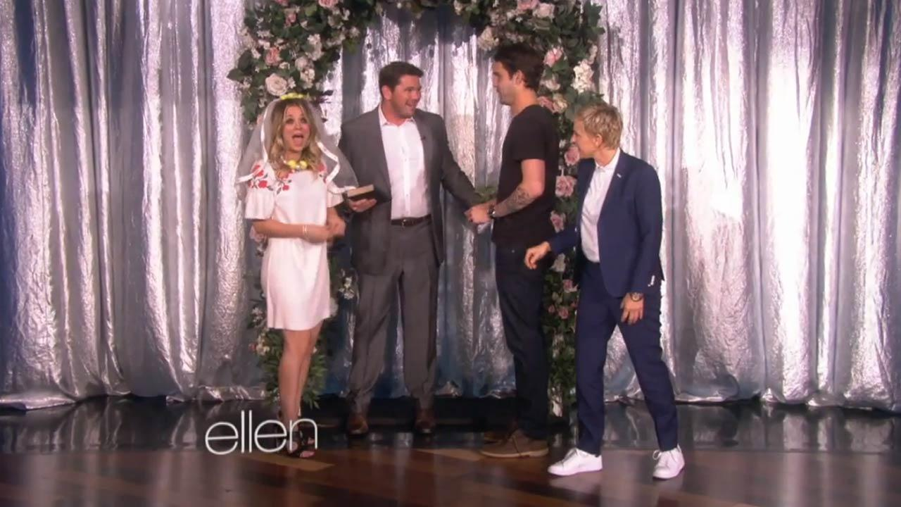 Kaley Cuoco appears on The Ellen DeGeneres Show with fiance Ryan Sweeting on Nov. 6, 2013.