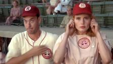 Tom Hanks and Geena Davis appear in a still from A League of Their Own. - Provided courtesy of Columbia Pictures