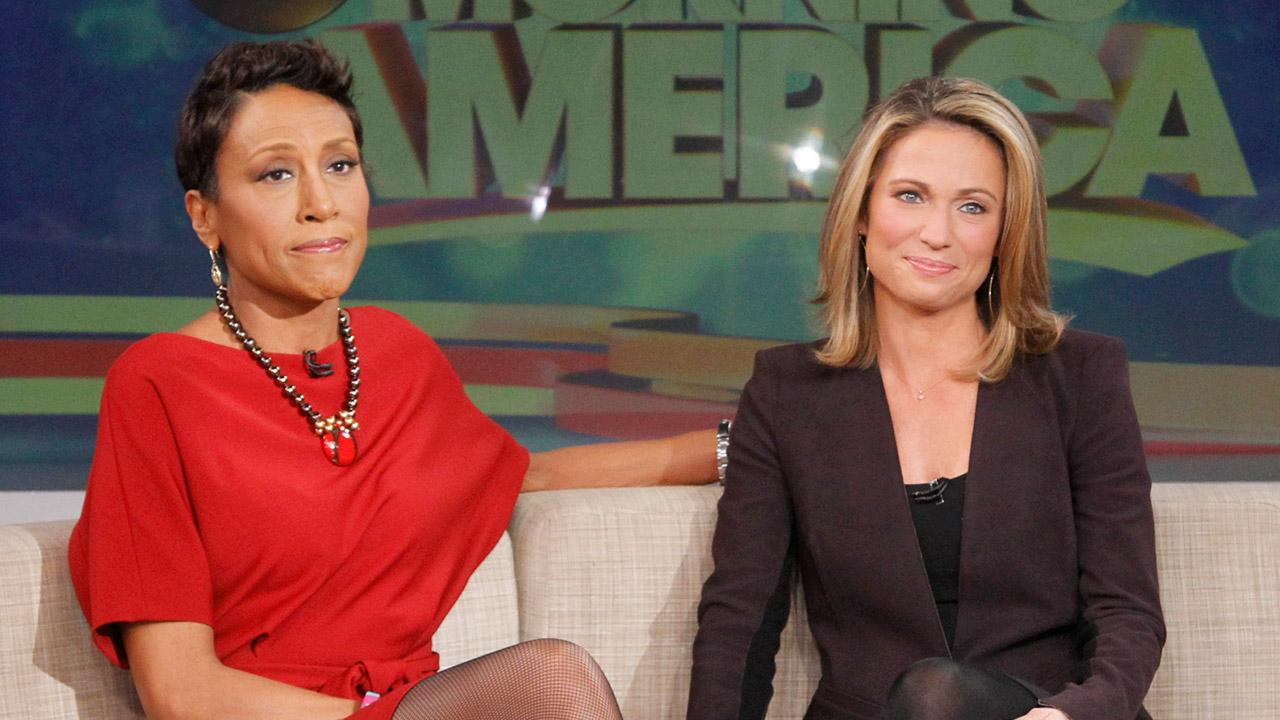 Robin Roberts and Amy Robach appear on Good Morning America on Nov. 11, 2013.