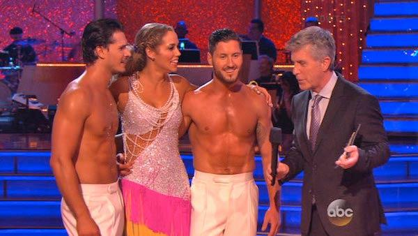Elizabeth Berkley and Val Chmerkovskiy appear with Gleb Savchenko on Dancing With The Stars week nine on Nov. 11, 2013. - Provided courtesy of ABC