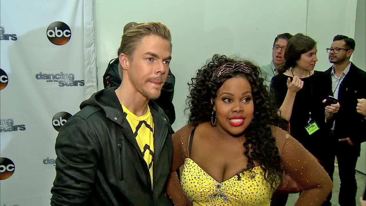 Amber Riley and Derek Hough talked to OTRC.com after week 9 on Dancing With The Stars on Nov. 11, 2013.