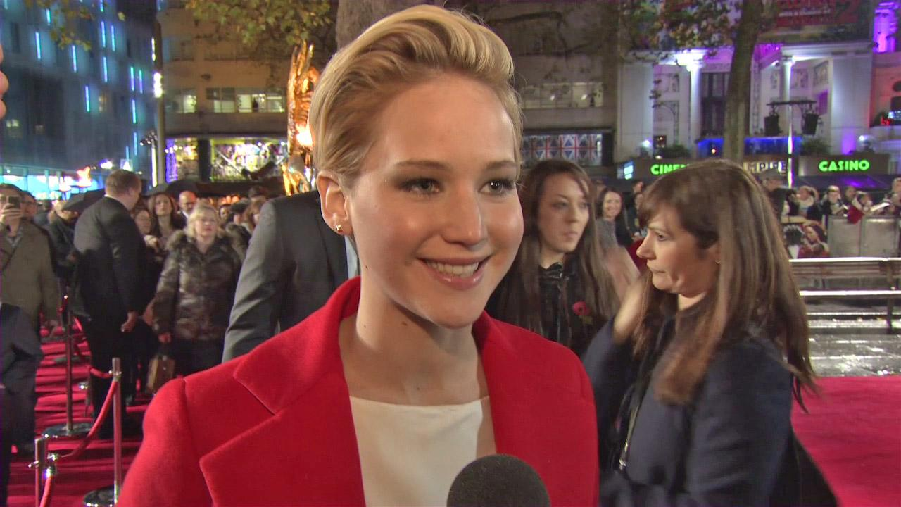 Jennifer Lawrence appears on the red carpet at the premiere of The Hunger Games: Catching Fire in London on Nov. 11, 2013.