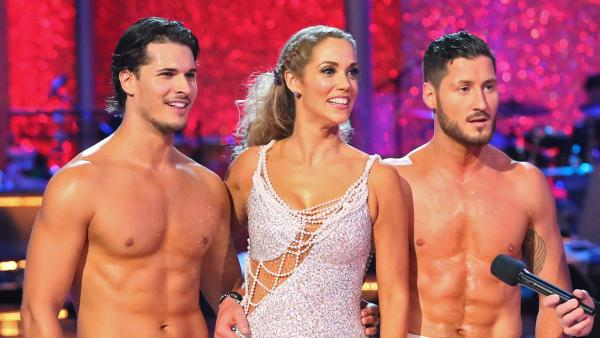 Elizabeth Berkley and Val Chmerkovskiy danced the Salsa with Gleb Savchenko and received 30 out of 30 during the trio round on week nine of Dancing With The Stars on Nov. 11, 2013. - Provided courtesy of Lionsgate