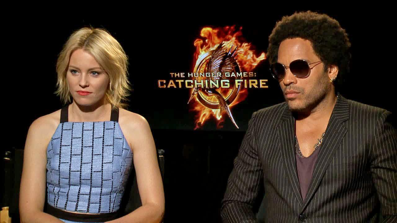 Elizabeth Banks and Lenny Kravitz appear in an interview with OTRC.com on Nov. 7, 2013.