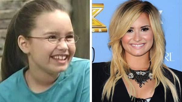 Left -- Demi Lovato appears in a still from 'Barney and Friends.' Right -- Demi Lovato appears at 'The X Factor' premiere party on Sept. 5, 2013.