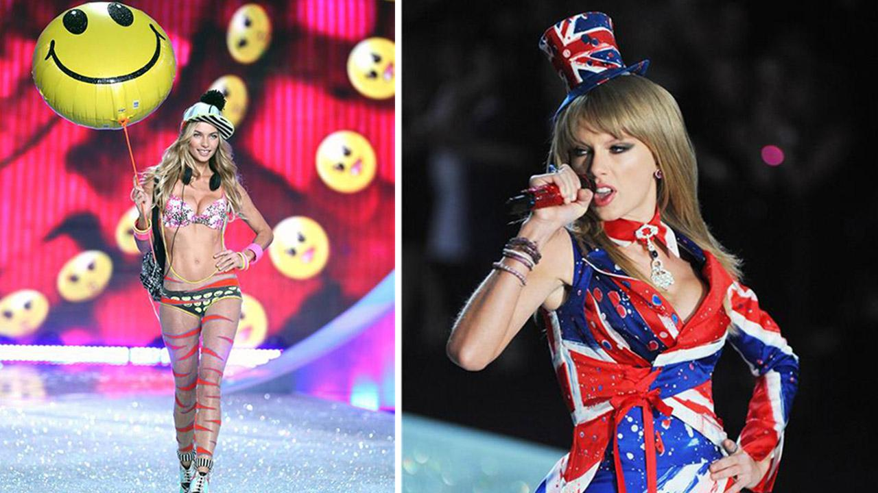 Jessica Hart and Taylor Swift appear on the runway at the 2013 Victorias Secret Fashion Show at the Lexington Armory in New York on Nov. 13, 2013.