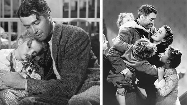 James Stewart and Karolyn Grimes appear in a scene from the 1946 movie Its A Wonderful Life. / James Stewart, Donna Reed, Carol Coombs, Karolyn Grimes and Jimmy Hawkins appear in the film. - Provided courtesy of Liberty Films / Paramount Pictures