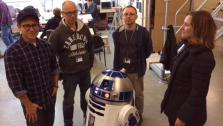 J.J. Abrams, Lee Towersey, Oliver Steeples, and Kathleen Kennedy appear in a photo with an R2-D2 model posted on Bad Robots Twitter page on Nov. 14, 2013. - Provided courtesy of Twitter.com/bad_robot