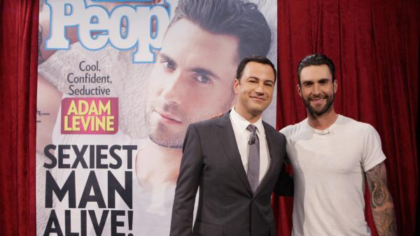 Adam Levine and Jimmy Kimmel appear on Jimmy Kimmel Live on Nov. 20, 2013. - Provided courtesy of ABC / Randy Holmes