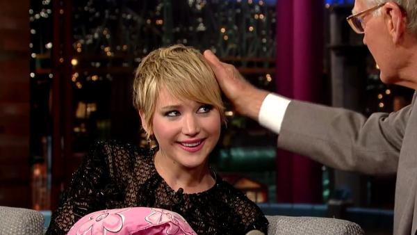Jennifer Lawrence appears on a Nov. 20, 2013 episode of The Late Show with David Letterman. - Provided courtesy of Worldwide Pants / CBS