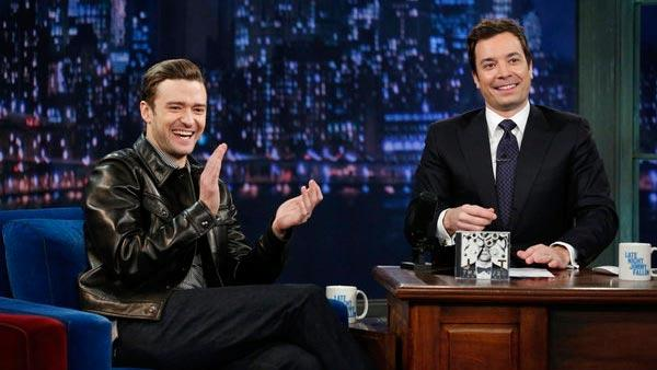 Justin Timberlake and Jimmy Fallon appear on Late Night With Jimmy Fallon on March 11, 2013. - Provided courtesy of Lloyd Bishop/NBC
