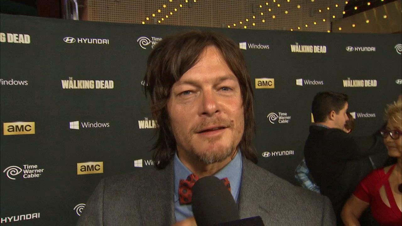 Norman Reedus (Walking Deads Daryl Dixon) talks to OTRC.com about season 4 at the premiere of the AMC show in Los Angeles on Oct. 3, 2013.