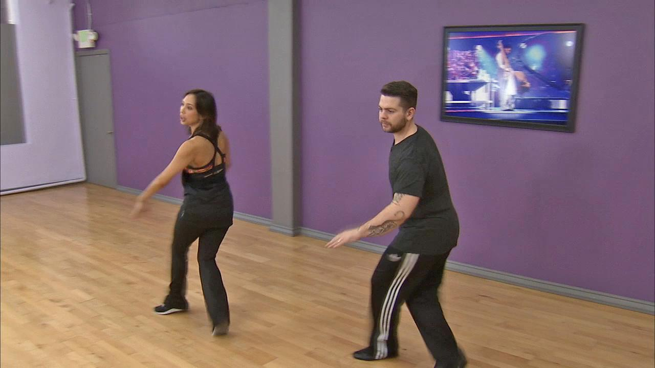 Jack Osbourne and Cheryl Burke dance at a rehearsal before the Dancing With The Stars season 17 finale. (November 2013)