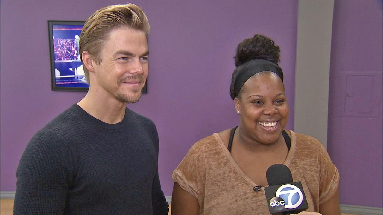 Amber Riley and Derek Hough talk to OTRC.com at a rehearsal before the Dancing With The Stars season 17 finale. (November 2013)