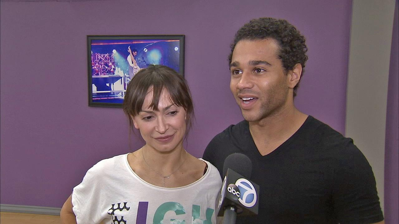 Corbin Bleu and Karina Smirnoff talk to OTRC.com at a rehearsal before the Dancing With The Stars season 17 finale. (November 2013)