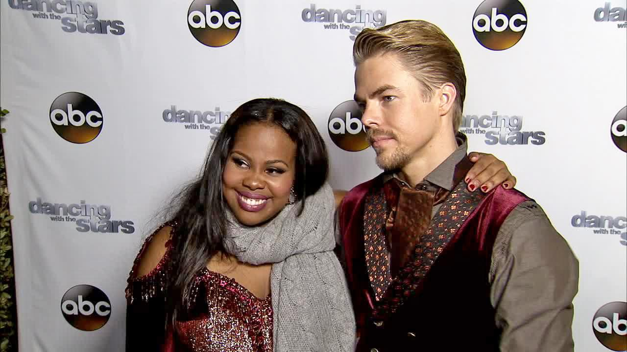 Amber Riley and Derek Hough talk to OTRC.com after week 11 -- the first of the two-part finale -- of Dancing With The Stars season 17 on Nov. 25, 2013.