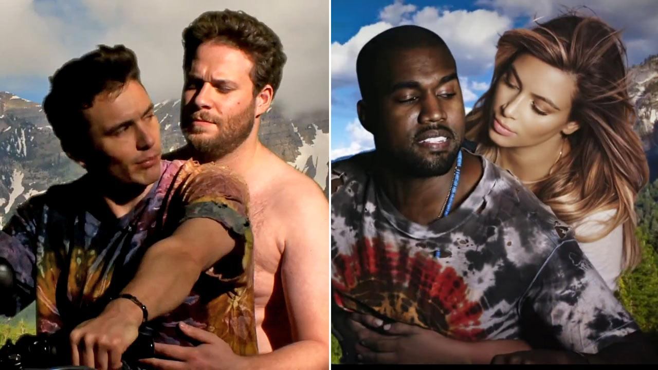 Kanye West and Kim Kardashian appear in the music video for Bound 2, which premiered on The Ellen DeGeneres Show on Nov. 19, 2013. / Seth Rogen and James Franco appear in their Bound 3 parody posted online on Nov. 25, 2013.