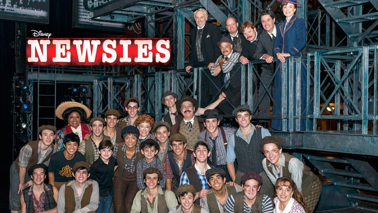 The cast of Disneys Newsies musical appears in a 2013 photo.