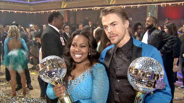 Amber Riley and Derek Hough talk to OTRC.com after the season 17 finale of 'Dancing With The Stars'  on Nov. 26, 2013.