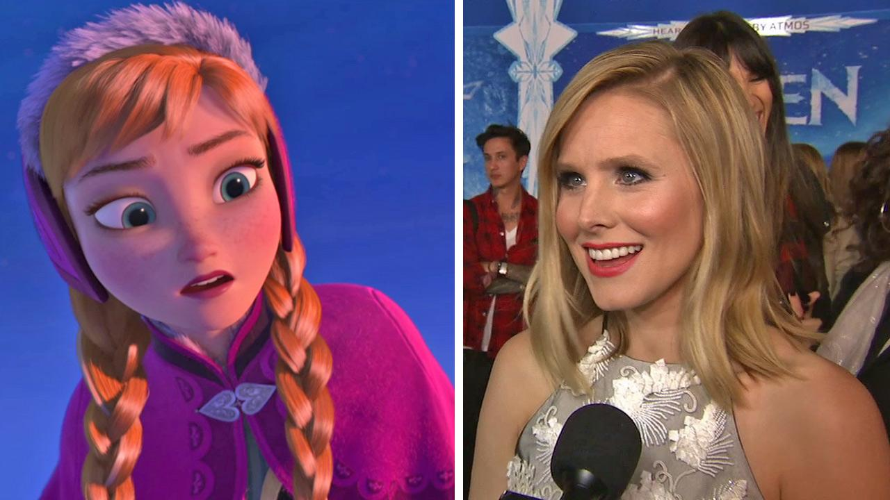 Kristen Bell talks to OTRC.com at the premiere of Disneys 2013 movie Frozen in Los Angeles on Nov. 19, 2013. / Kristen Bells Frozen character, Princess Anna, appears in a scene from the movie.
