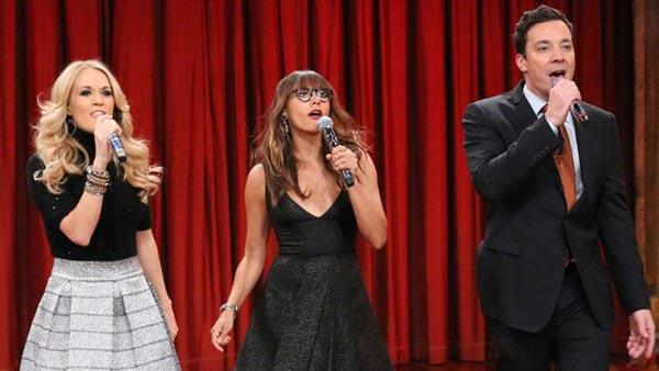 Jimmy Fallon, Rashida Jones and Carrie Underwood appear on Late Night with Jimmy Fallon on Nov. 28, 2013. - Provided courtesy of NBC