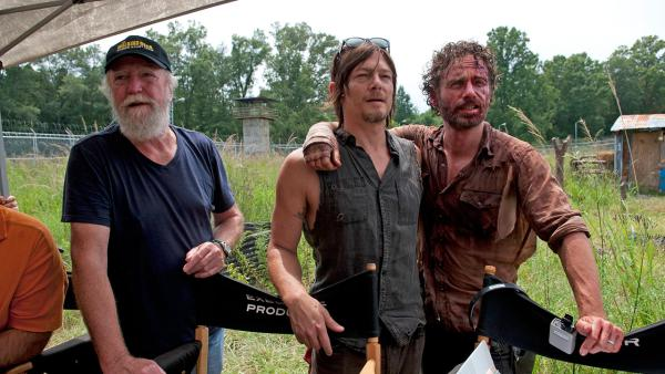 Scott Wilson (Hershel Greene), Norman Reedus (Daryl Dixon) and Andrew Lincoln (Rick Grimes) appear on the set of AMCs The Walking Deads midseason 4 finale, which aired on Dec. 1, 2013. - Provided courtesy of Gene Page / AMC