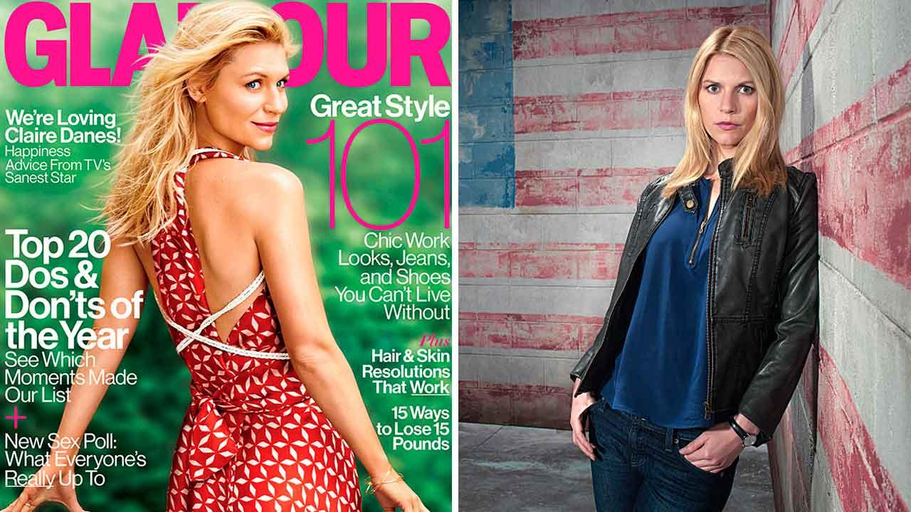 Claire Danes appears on the cover of the January 2014 issue of Glamour magazine. Claire Danes appears in a promotional photo for the Showtime series Homeland.