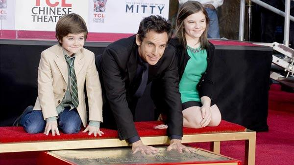 Ben Stiller and his children Quinlin Stiller and Ella Stiller appear at his Hand and Footprint Ceremony at the TCL Chinese Theatre in Los Angeles on Dec. 3, 2013. - Provided courtesy of Lionel Hahn/Abacausa/startraksphoto.com