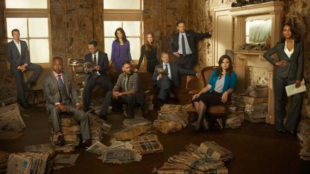 The cast of Scandal appears in a promotional photo for season 3.