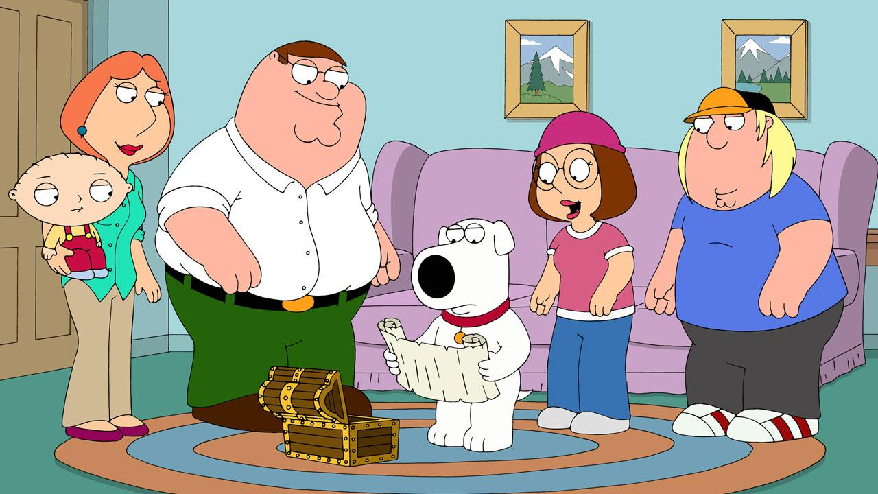 The animated cast of Family Guy appears in a promotional 2013 photo.