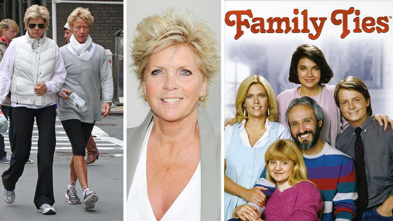 Meredith Baxter walks with partner Nancy Locke on Park Avenue in New York on April 10, 2011. / Meredith Baxter attends the 2013 Angel Awards in Los Angeles on Aug. 10, 2013. / The Family Ties cast appears in a 1985 promotional photo.Adam Nemser / Daniel Robertson / Startraksphoto.com / Paramount Television / Ubu Productions