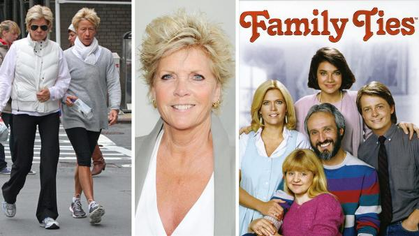 Meredith Baxter walks with partner Nancy Locke on Park Avenue in New York on April 10, 2011. / Meredith Baxter attends the 2013 Angel Awards in Los Angeles on Aug. 10, 2013. / The 'Family Ties' cast appears in a 1985 promotional photo.